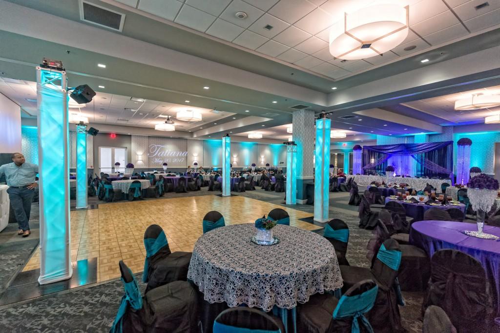 Red Oak Ballroom, San Antonio North Park. view of Red Oak Ballroom-B set for a Quinceanera