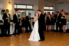Bride and Groom Dancing at the Red Oak Ballroom in Houston, CityCentre