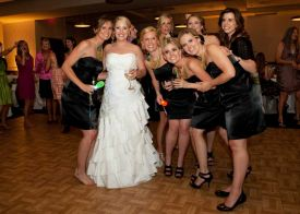 Bride and Bridesmaids at the Red Oak Ballroom in Houston, CityCentre