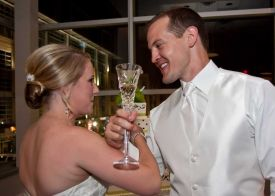 Bride and Groom Toasting at the Red Oak Ballroom in Houston, CityCentre