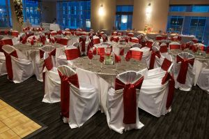 Gorgeous White, Silver and Red Holiday Party set with views of CityCentre in Houston