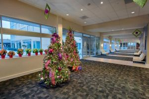 Lobby at Houston CityCentre decorated for the holidays