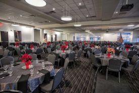 Stately black and gray Company Holiday Party set at Red Oak Ballroom Houston, CityCentre