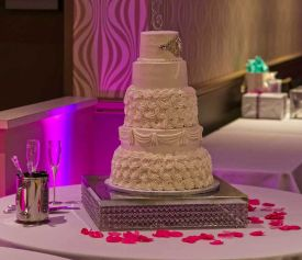 Wedding Cake Table at the Red Oak Ballroom B in Fort Worth, Sundance Square