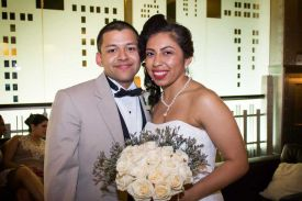 Bride and Groom in Lobby, Wedding at the Red Oak Ballroom in Fort Worth, Sundance Square