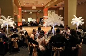 Elegant and fanciful Gold and Black room set with Feather Palm Centerpieces, Wedding at the Red Oak Ballroom B in Fort Worth, Sundance Square