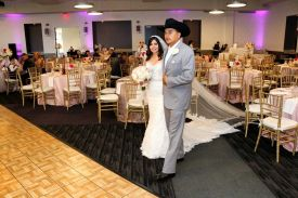 Happy Wedding Couple Arriving at the Red Oak Ballroom in Houston, CityCentre