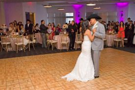 Happy Wedding Couple Dancing at the Red Oak Ballroom in Houston, CityCentre