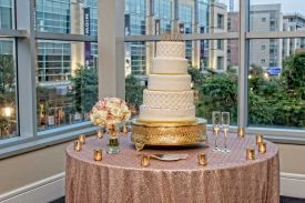 Wedding Cake Display Table with fabulous views at the Red Oak Ballroom in Houston, CityCentre