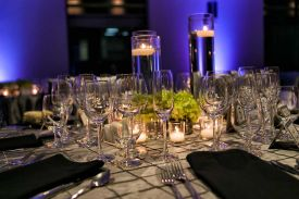 Amazing glassware and textured table linen at the Red Oak Ballroom