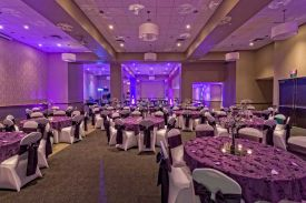 Elegant Purple and White room set with Textured Table Overlays, Wedding at the Red Oak Ballroom B in Fort Worth, Sundance Square