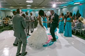 Happy Couple dancing with Guests at the Red Oak Ballroom in Houston, CityCentre