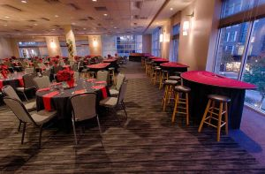 Elegant black and red Holiday Party set with gaming tables and fabulous view, Houston, CityCentre