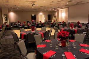 Elegant black and red Holiday Party set in Houston, CityCentre