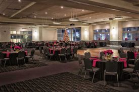 Elegant black and red Holiday Party set, Red Oak Ballroom B in Houston, CityCentre