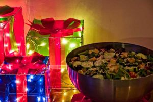 Colorful Holiday Party decorations for your event at the Red Oak Ballroom