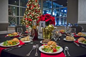 Preset salads and desserts for a Holiday Party at the Red Oak Ballroom, Houston, CityCentre