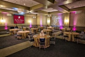 Elegant Gold with Clear Bamboo Chairs for a Wedding Reception at the Red Oak Ballroom A in Fort Worth, Sundance Square