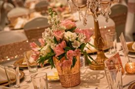 Beautiful Copper and White theme for a Wedding Reception at the Red Oak Ballroom in Fort Worth, Sundance Square