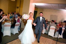 Bride and Groom Arriving at the Red Oak Ballroom in Fort Worth, Sundance Square