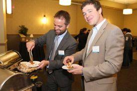 Guests enjoying fabulous Hot Appetizers at the Red Oak Ballroom
