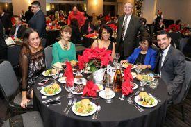 Guests enjoying preset salads at Holiday Party, Houston, CityCentre