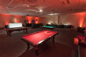 Massive, custom Company Holiday Party set, Game, Sports and Appetizers Rooms at Red Oak Ballroom Austin